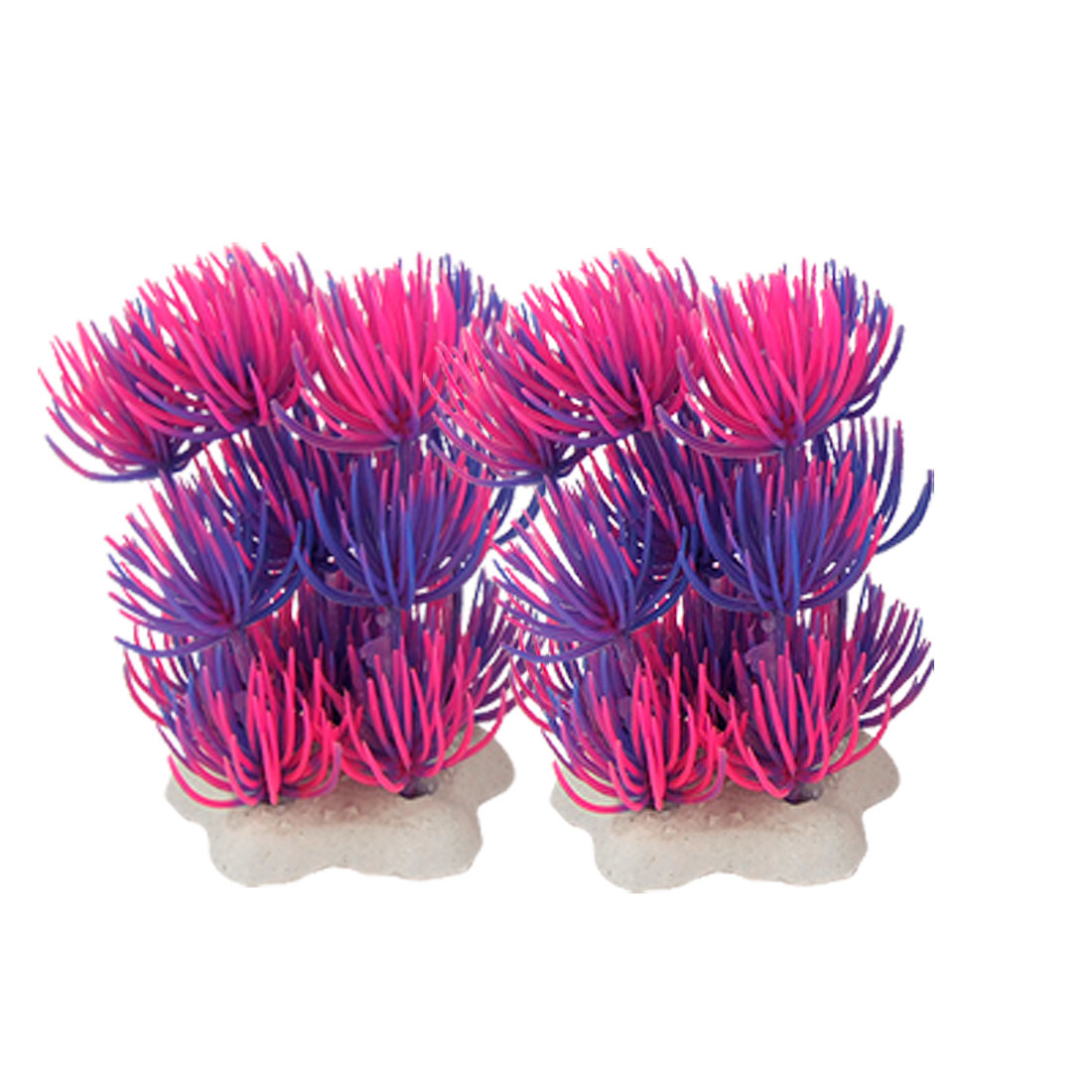 2 Pcs Blue Hot Pink Plastic Grass Decoration for Fish Tank Aquarium