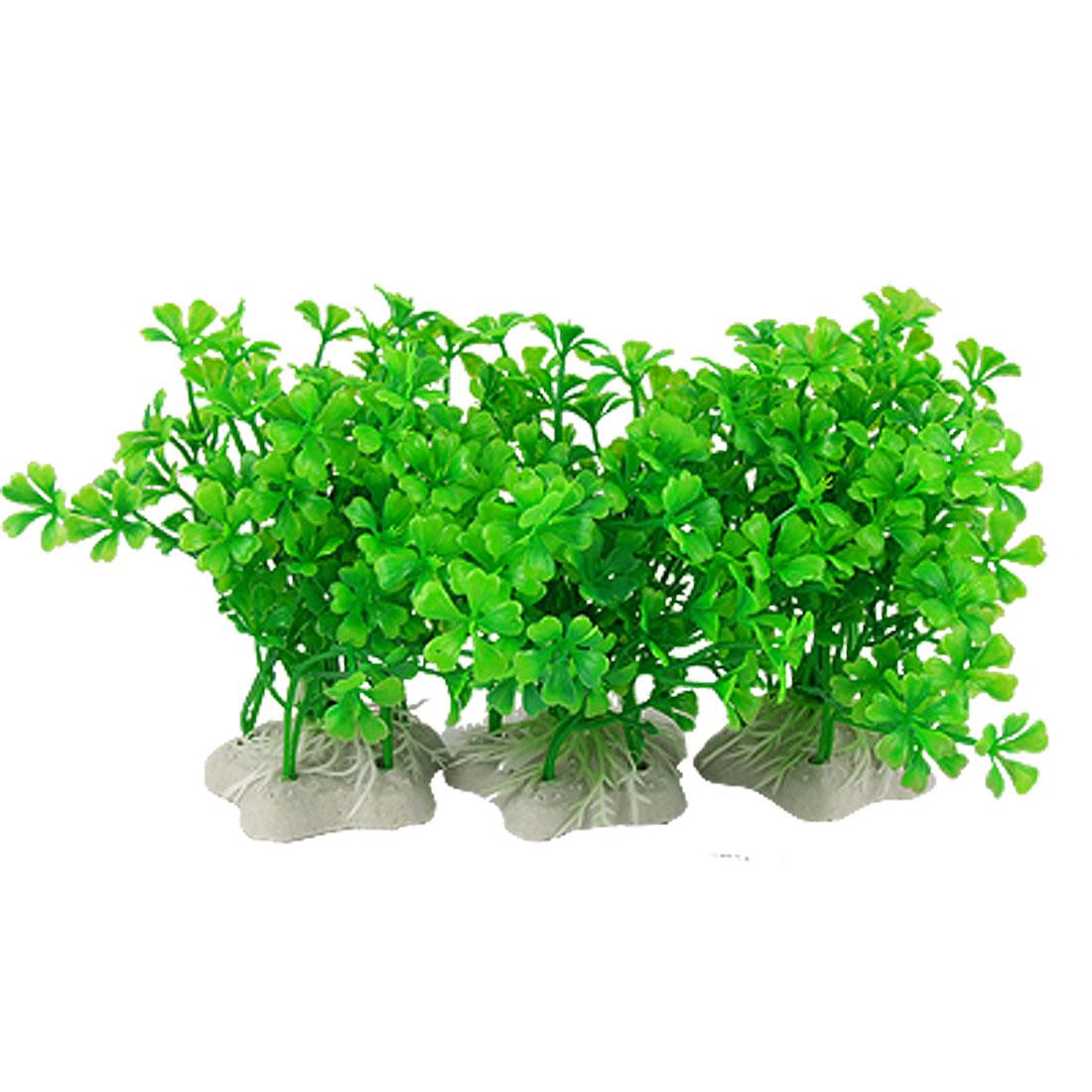 White Ceramic Base Green Plastic Grass 3 Pcs for Aquarium Fish Tank