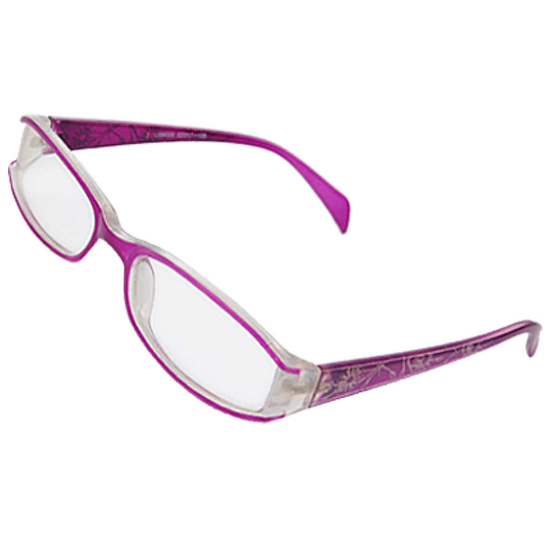 Full Frame Flower Pattern Plastic Purple Plano Glasses for Lady