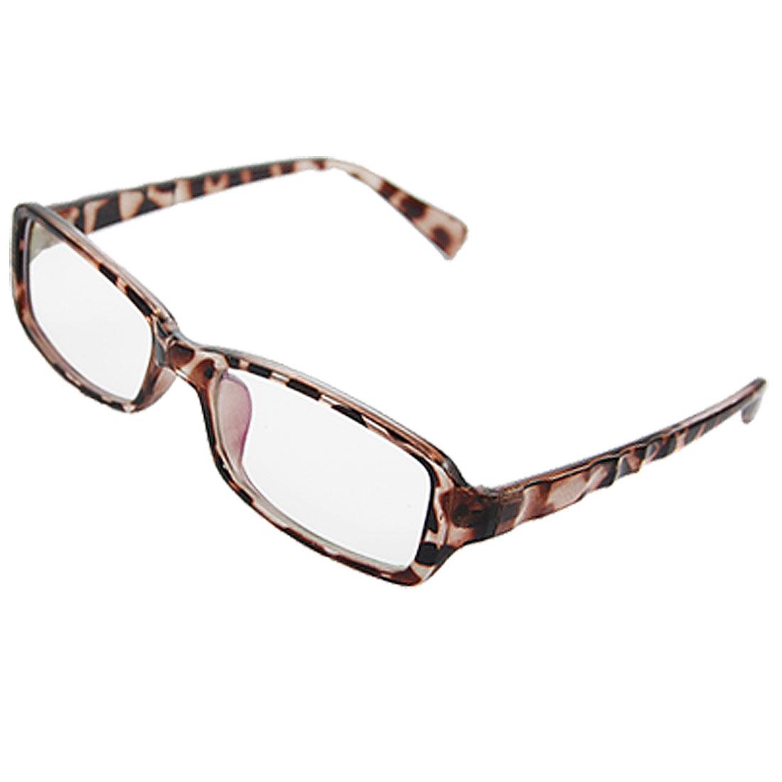 Leopard Printed Plastic Full Frame MC Lens Plano Glasses for Lady