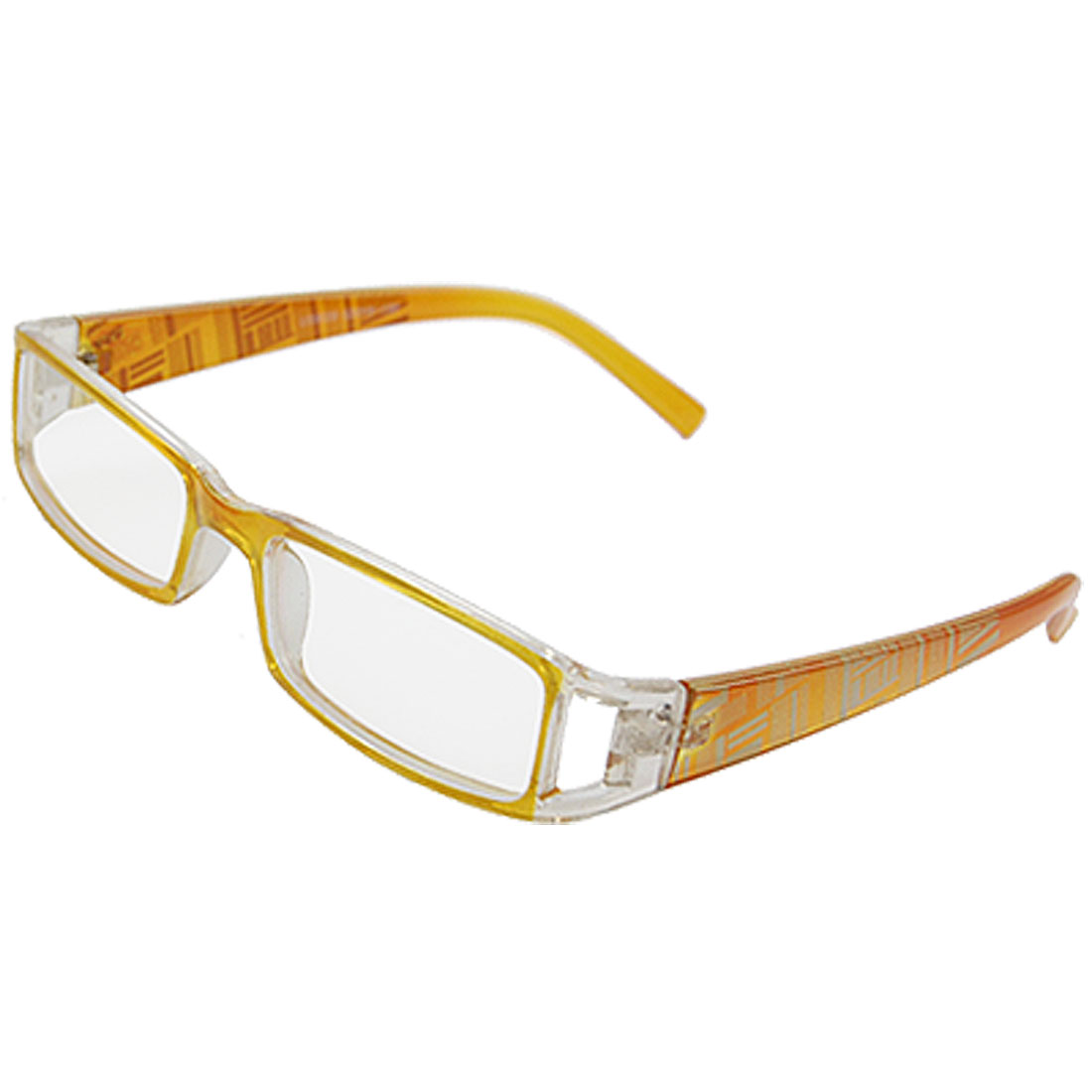 Lady Striped Printed Plastic MC Clear Lens Plano Glasses Yellow