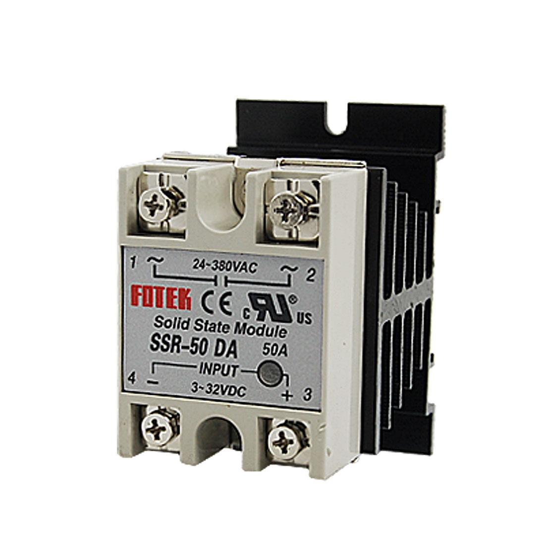 SSR-50DA 50A Solid State Relay Module 3-32V DC / 24-380V AC + Heat Sink