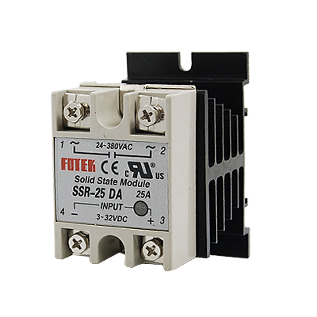 DC-AC Solid State Relay SSR 25A 3-32V DC/24-380V AC + Heat Sink
