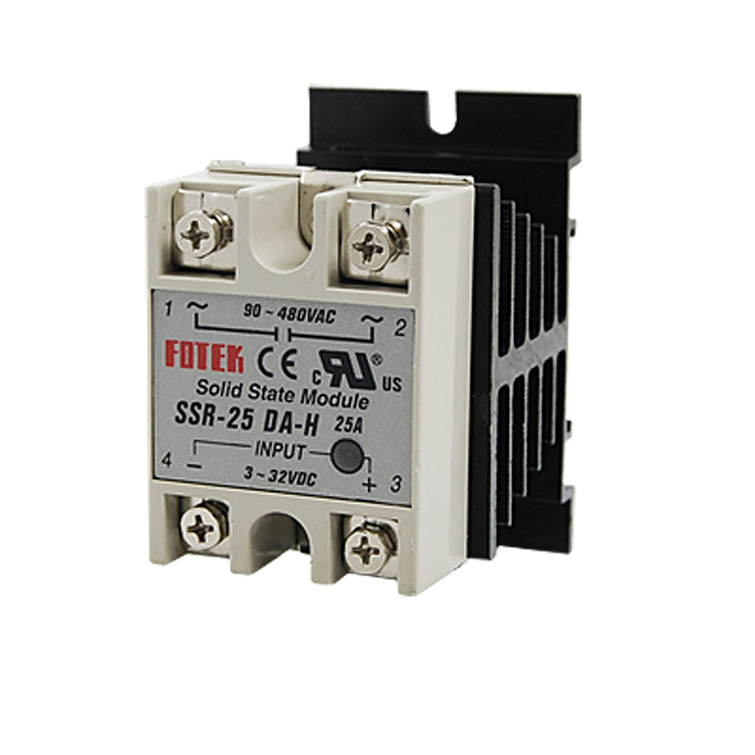 Single Phase Solid State Relay SSR 25DA 25A 3-32V DC / 90-480VAC + Heat Sink