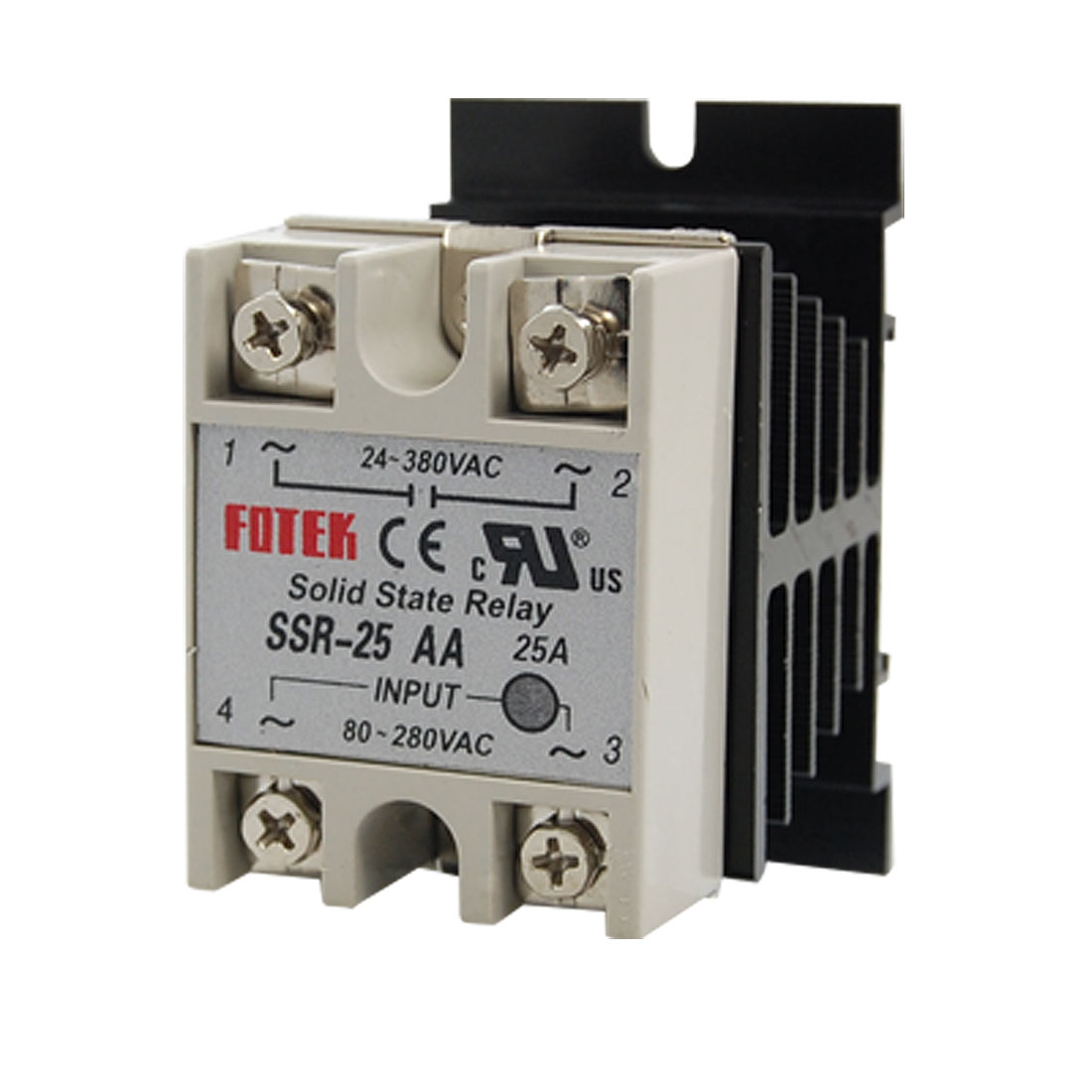 AC80-280V AC24-380V 25A AC to AC Single Phase SSR Solid State Relay w Heat Sink