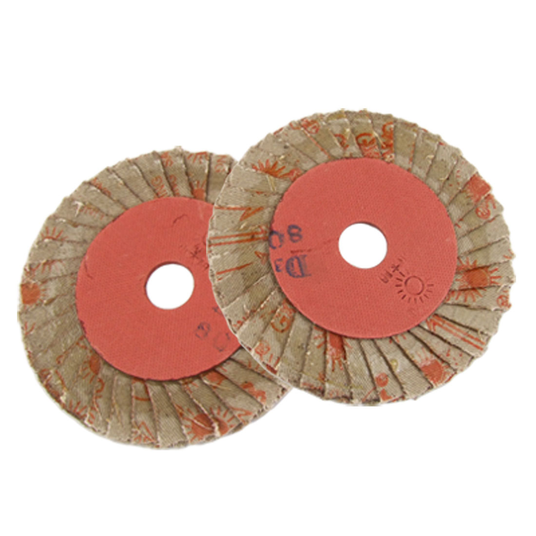 "2 Pcs 80# Grit 4"" Outer Dia Flap Abrasive Wheel Sanding Disc"