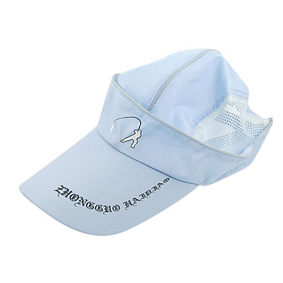 Men Blue White Sports Breathable Mesh Sun Visor Hat w Adjustable Band