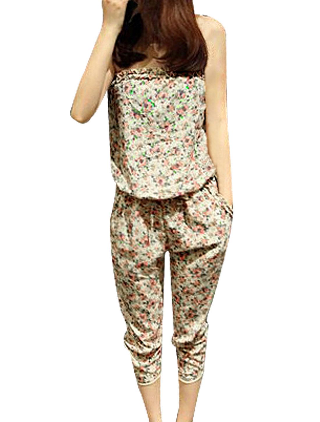 Floral Print Elastic Waist Pockets Jumpsuit XS for Lady