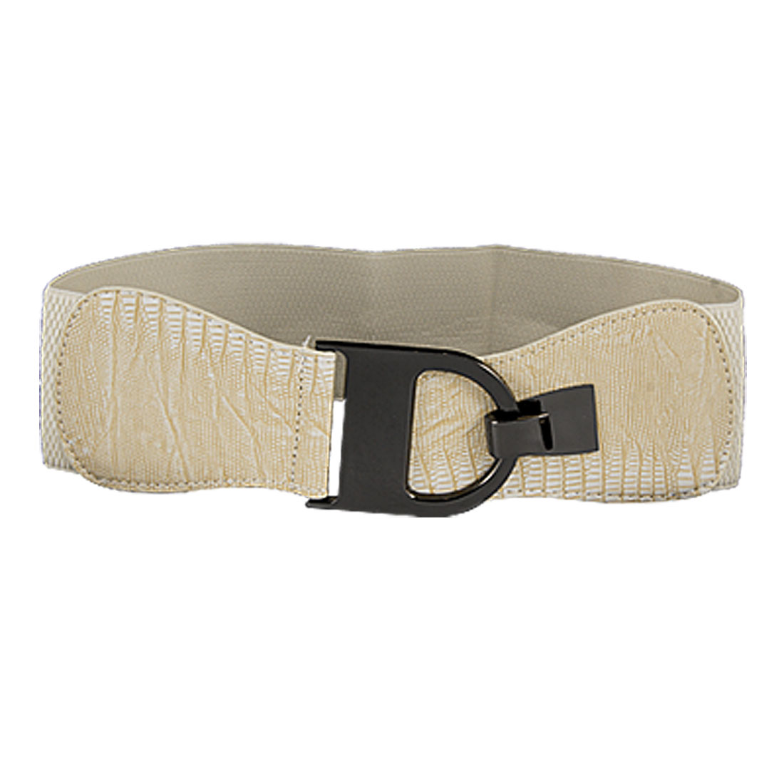Black Interlocking Buckle White Stretchy Waist Belt for Lady