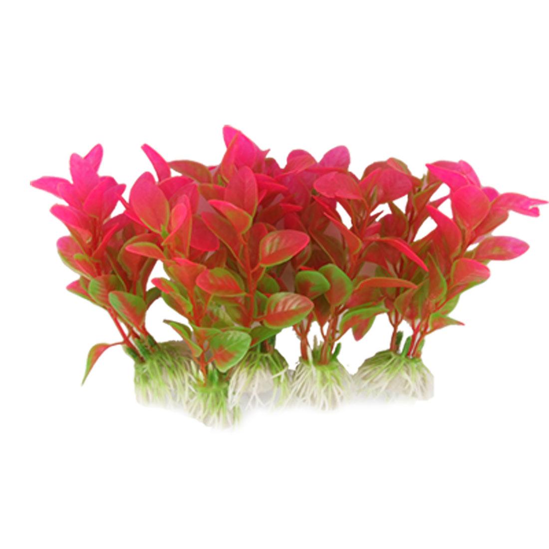 "5 Pcs 4.3"" High Pink Green Plastic Plant Decor for Fish Tank"