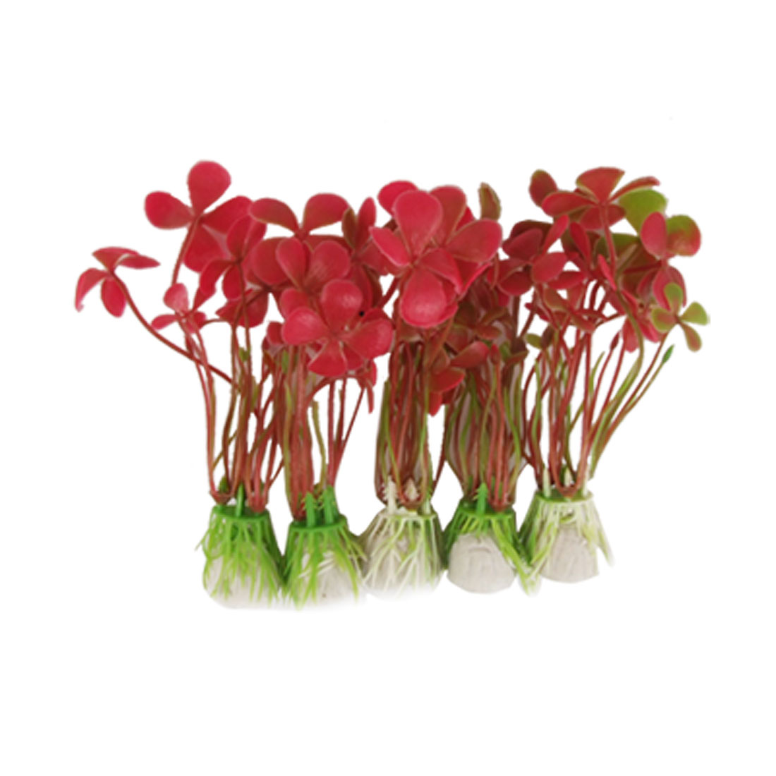 "Fish Tank 5 Pcs 4.5"" High Red Leaves Plastic Plant Grass w Base"