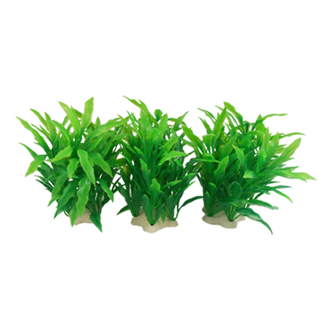 Fish Tank 3 Pcs Plastic Plant Green w Five Point Star Base