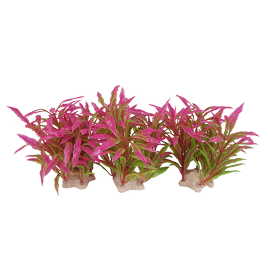 Fish Tank 3 Pcs Purple Green Leaves Five Point Star Base Plastic Plant