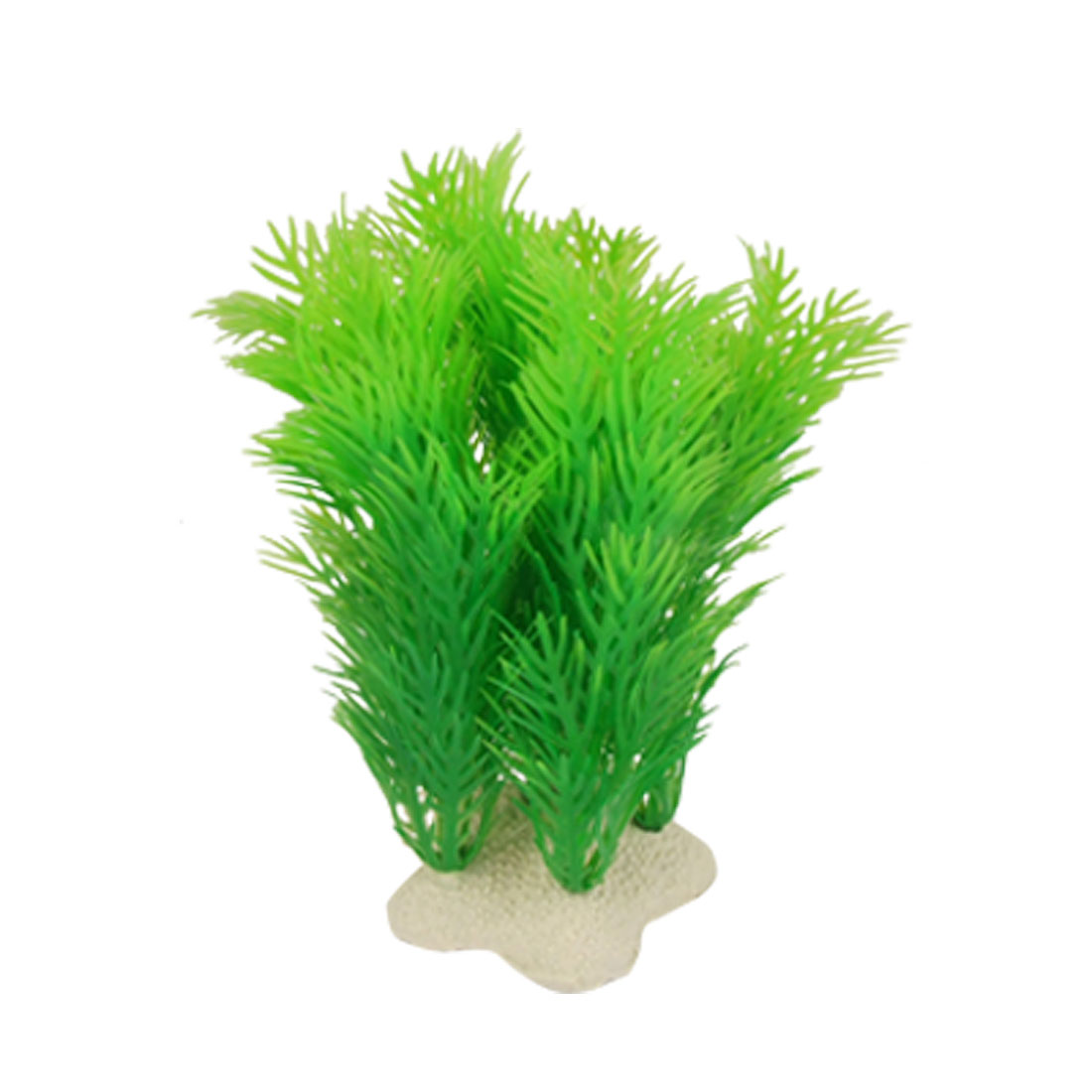 Five Pointed Star Base Green Plastic Plant Decor for Aquarium
