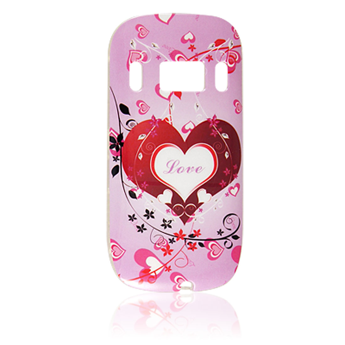 IMD Pink Red Heart Print Back Protector for Nokia C7