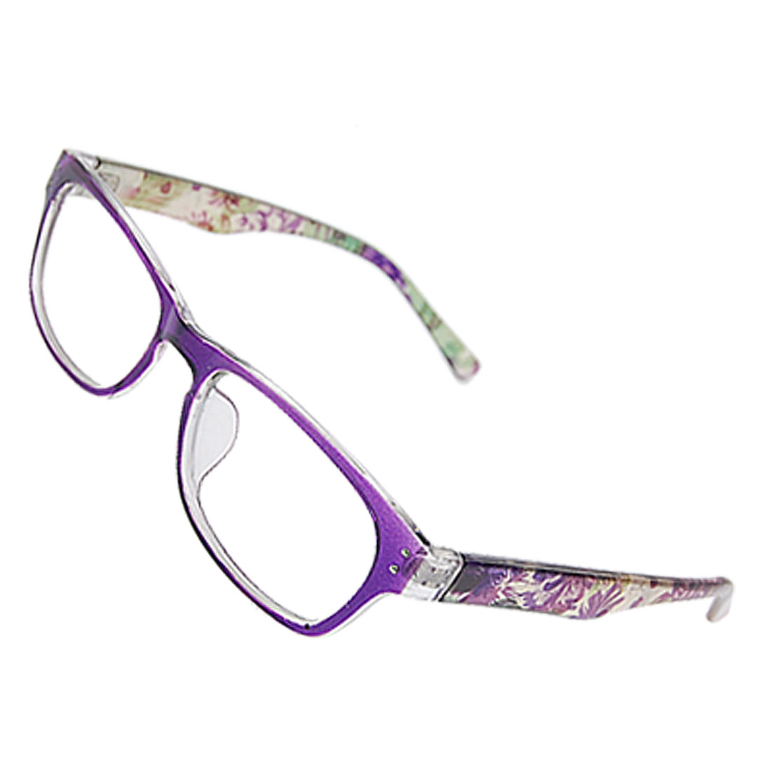 Lady Floral Detail Arms Full Rimmed Multi Coated Lens Plain Glasses Purple