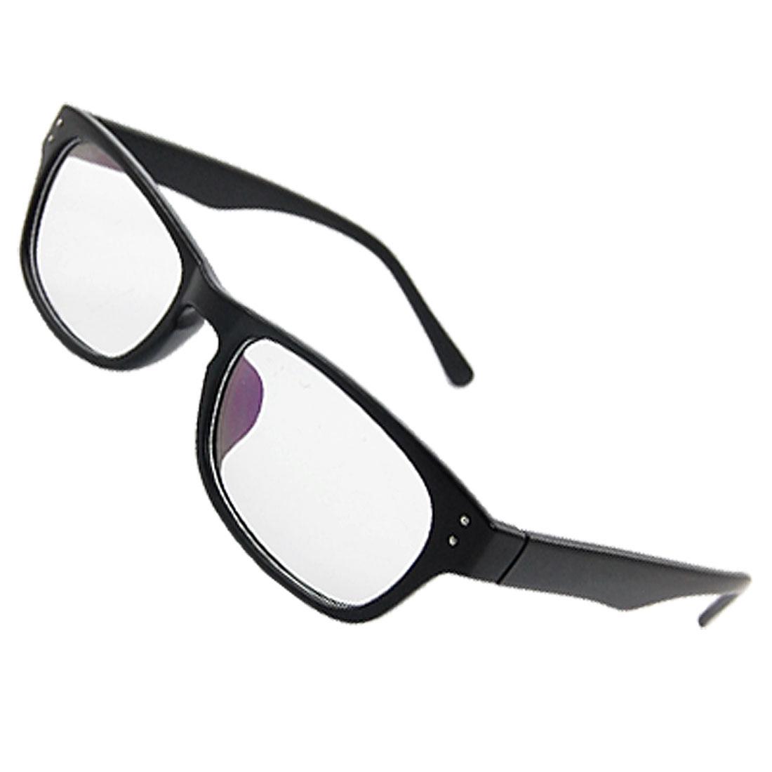Lady Rubberized Plastic Black Full Rim Multi Coated Rectangle Lens Plain Glasses
