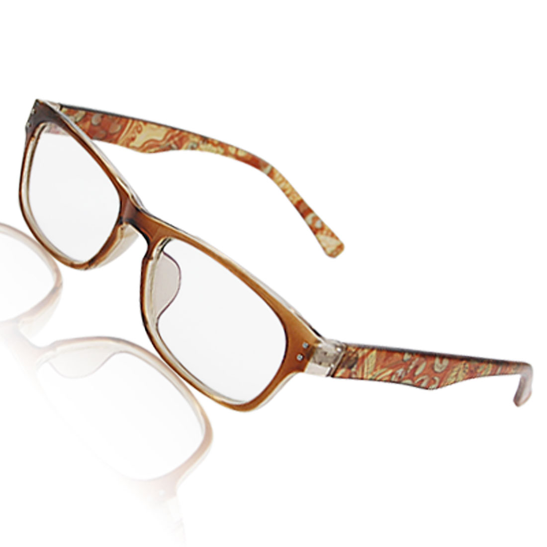 Lady Brown Plastic Arms Rectangular Multi Coated Lens Plano Glasses