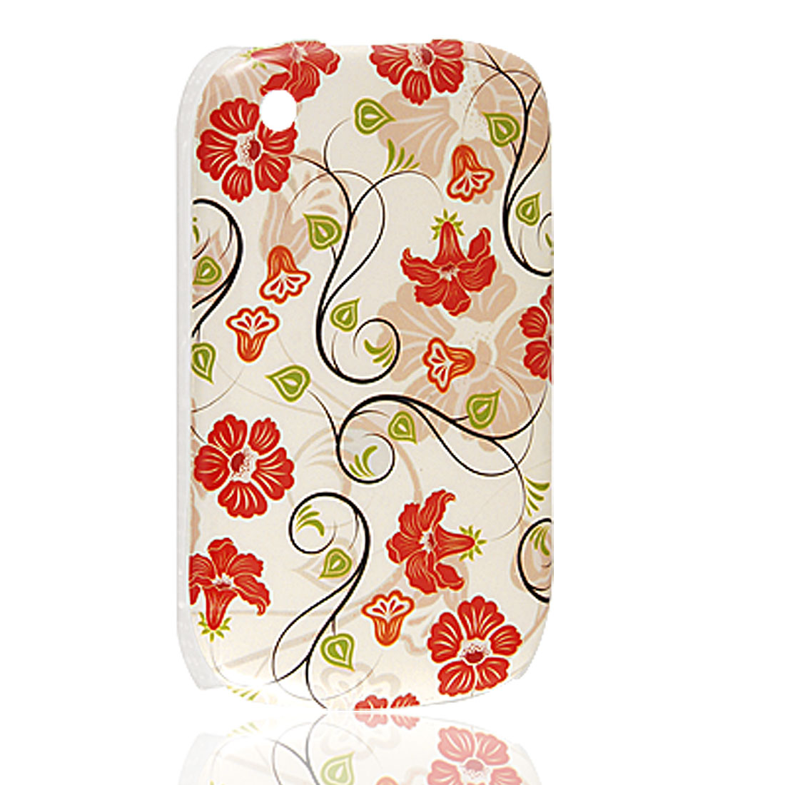 Red Floral Green Leaves Print Plastic IMD Back Cover for Blackberry 8520
