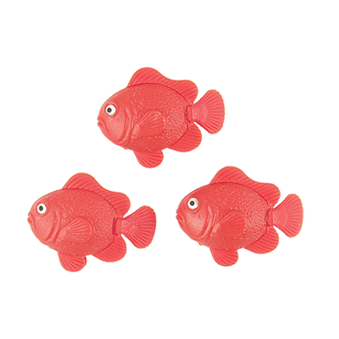 Red Plastic Carp Design Swimming Fish Decor 3 Pcs for Aquarium