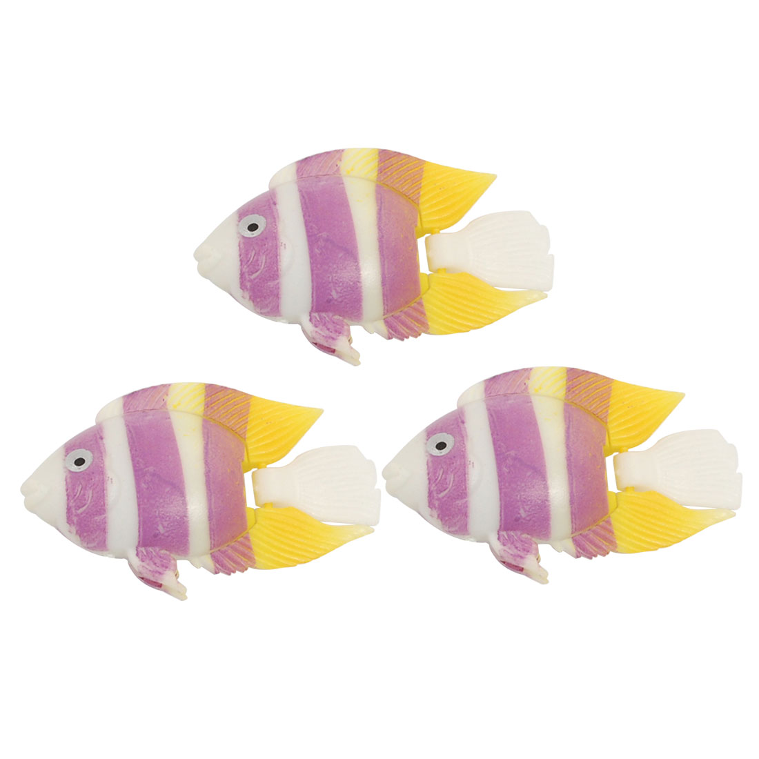 Aquarium Striped Yellow Purple Plastic Fish Decor 3 Pcs