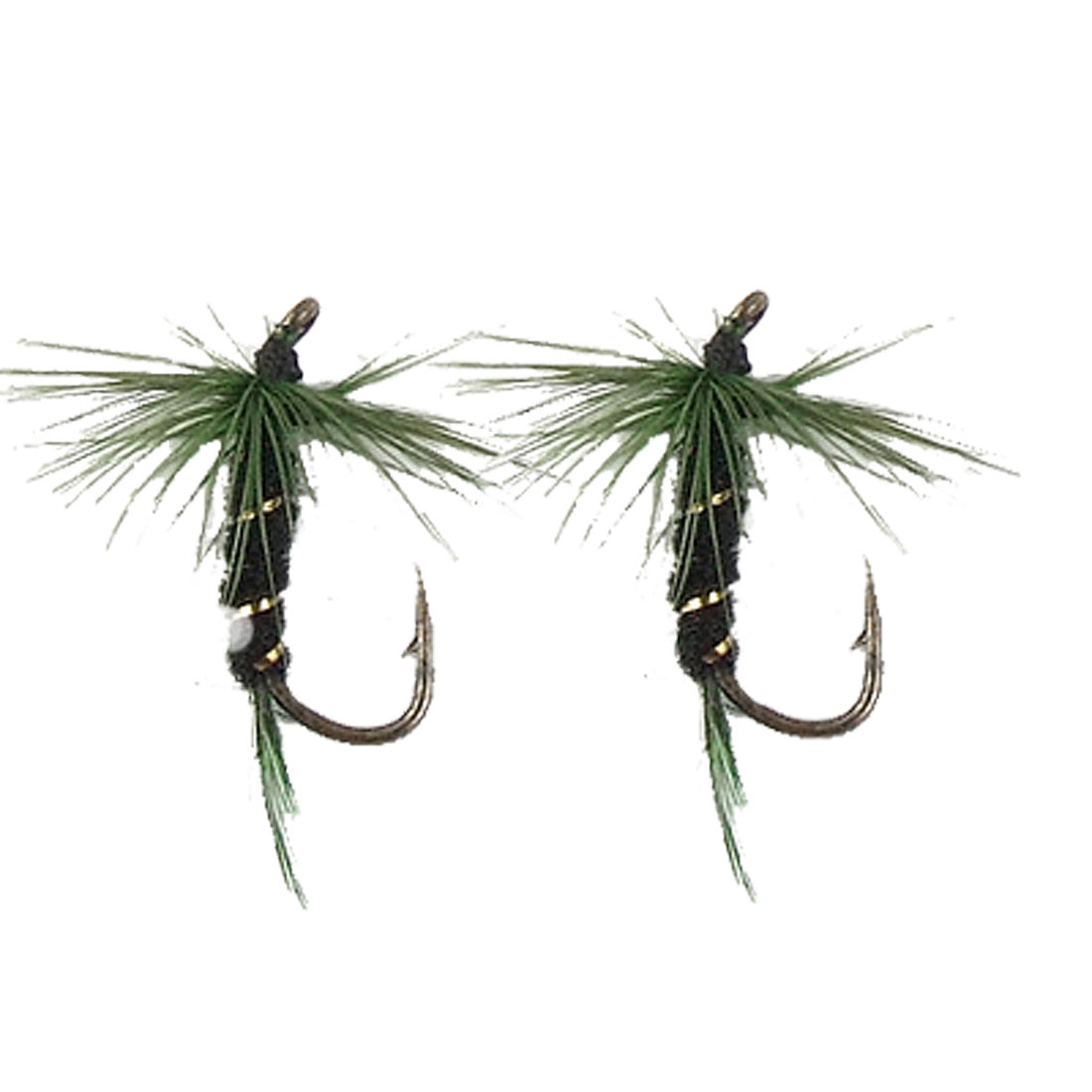 2 Pcs Fish Dry Fly Fishing Green Floss Hook Tackle Simulate Lure