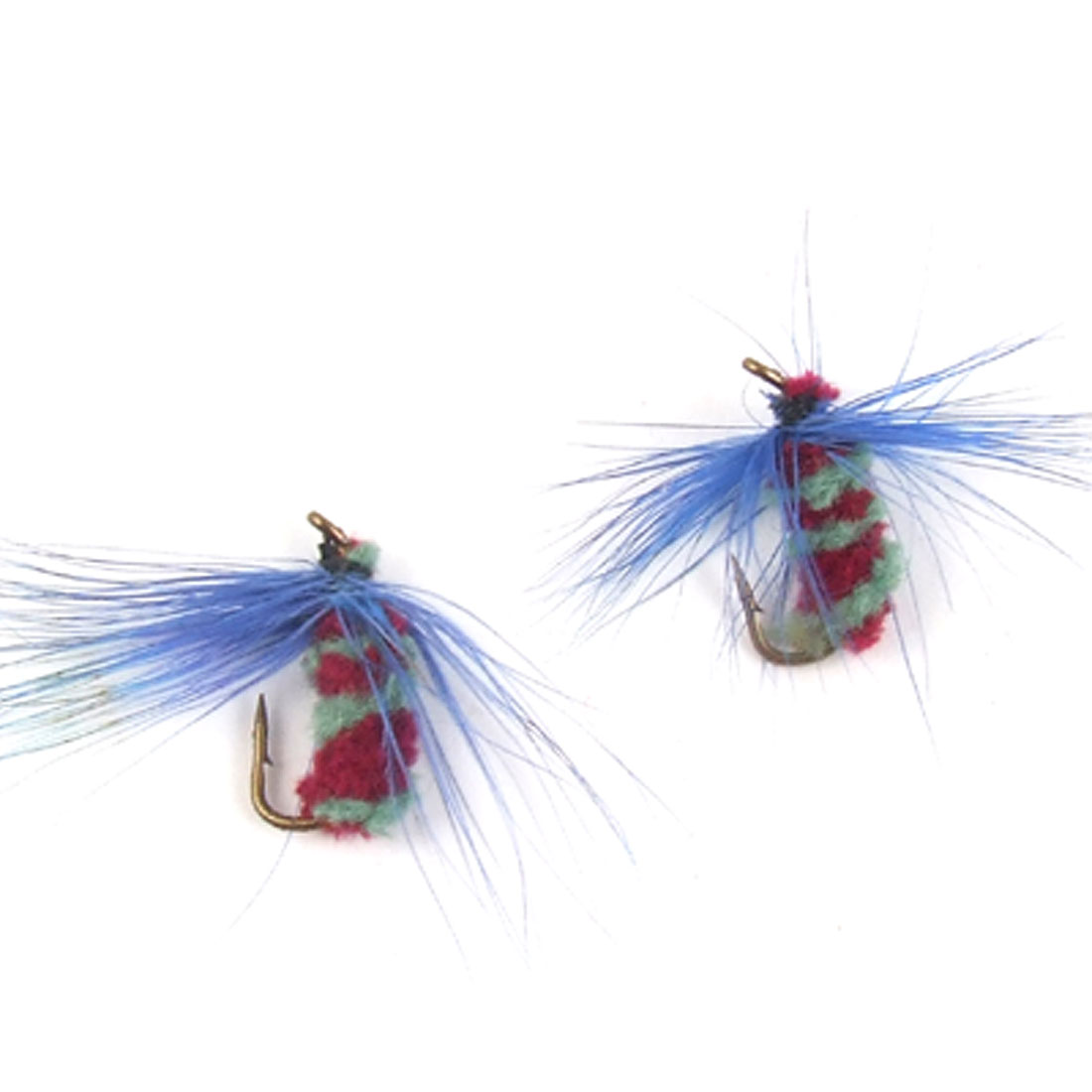 Blue Floss Decor Lure Fishing Metal Sharp Hook 2 Pcs