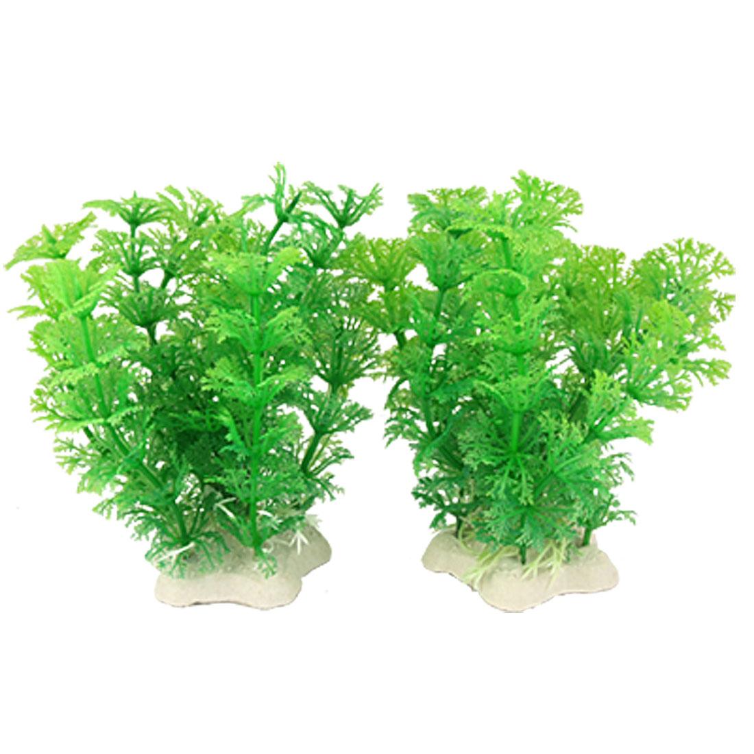 Aquarium 2 Pcs Emulational Green Plastic Plant Decor