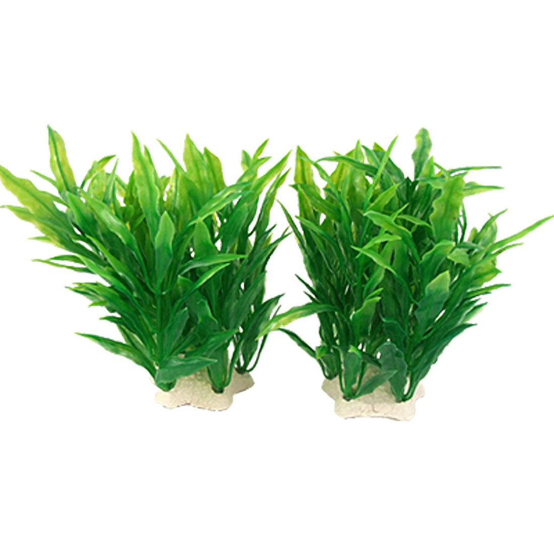 2 Pcs Green Plastic Plant Decor w Ceramic Base for Aquarium