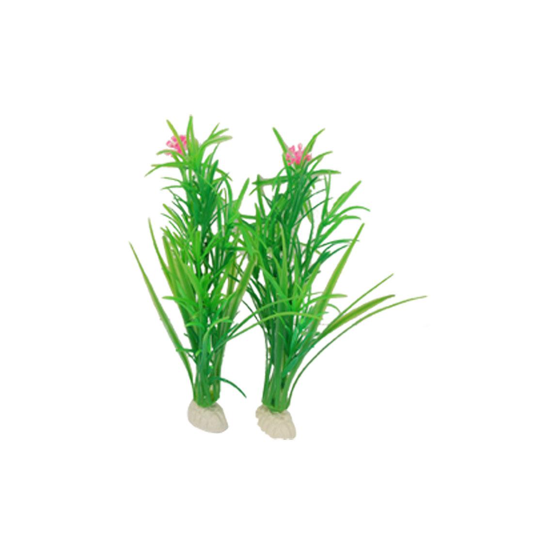 Pink Flower Green Slim Plant Decor 2 Pcs for Fish Aquarium