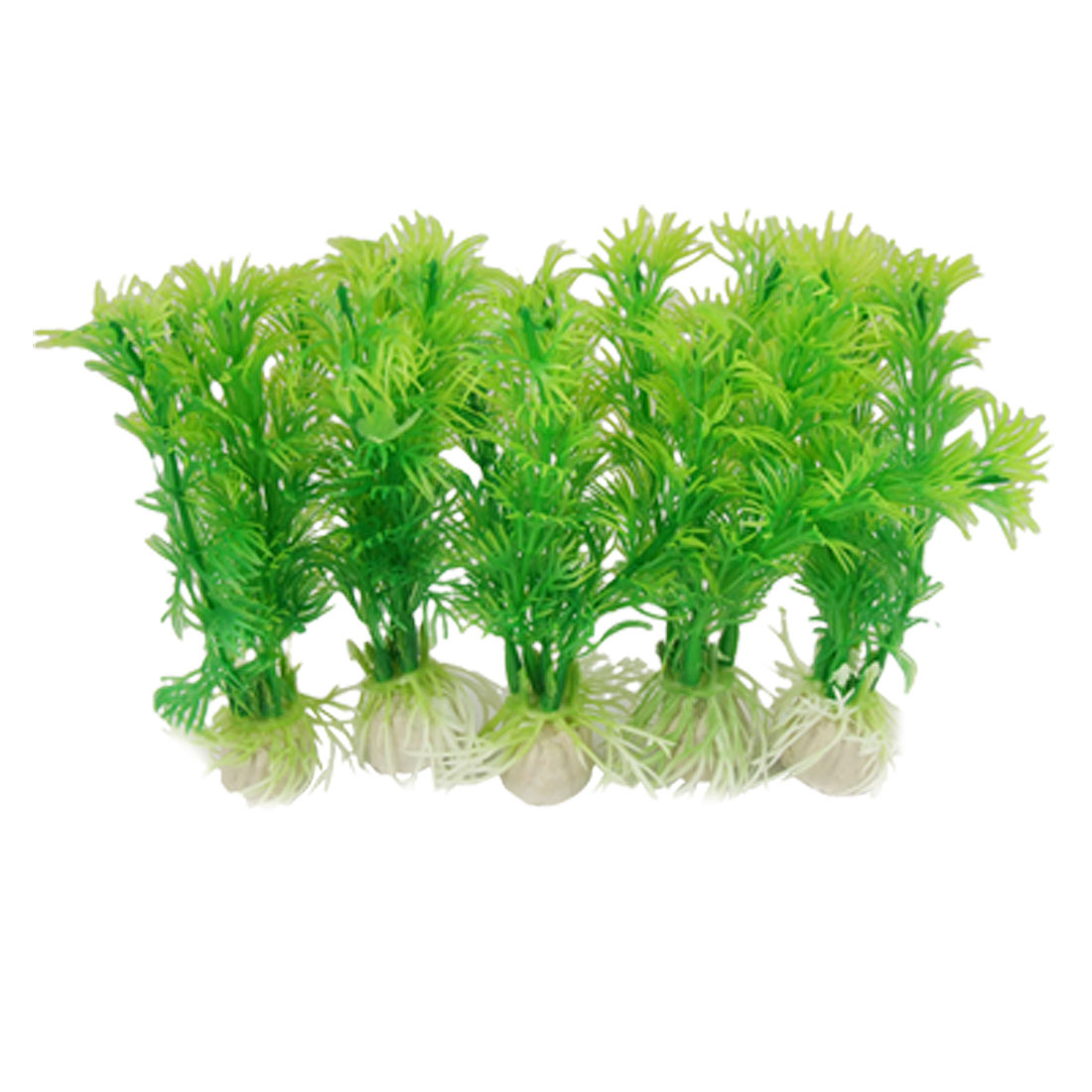 5 Pcs Green Plastic Emulational Plant Ornament for Fish Tank