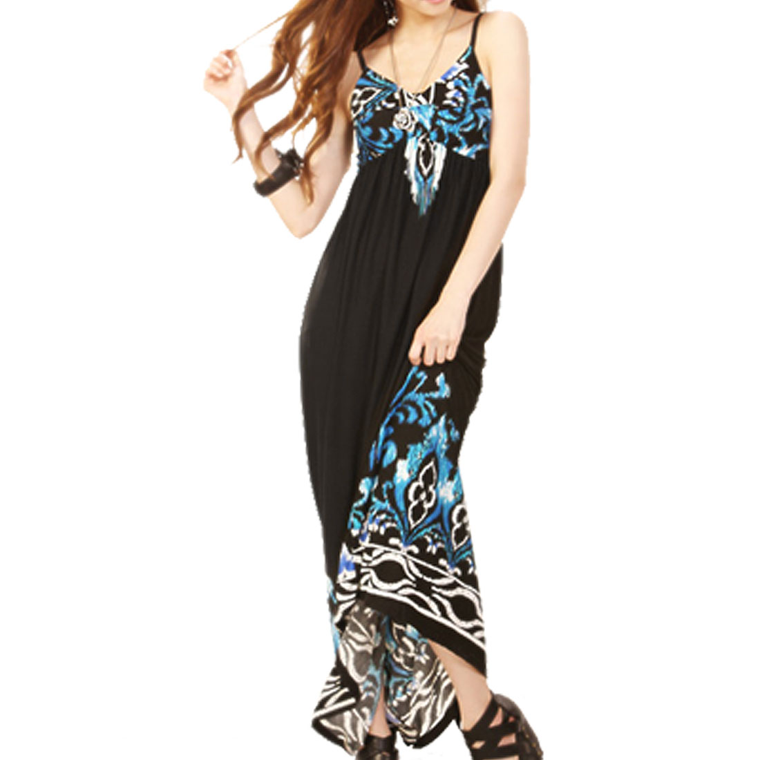 118001 Lady Blue Padded Bust Straps Full Dress/XS (US 0)