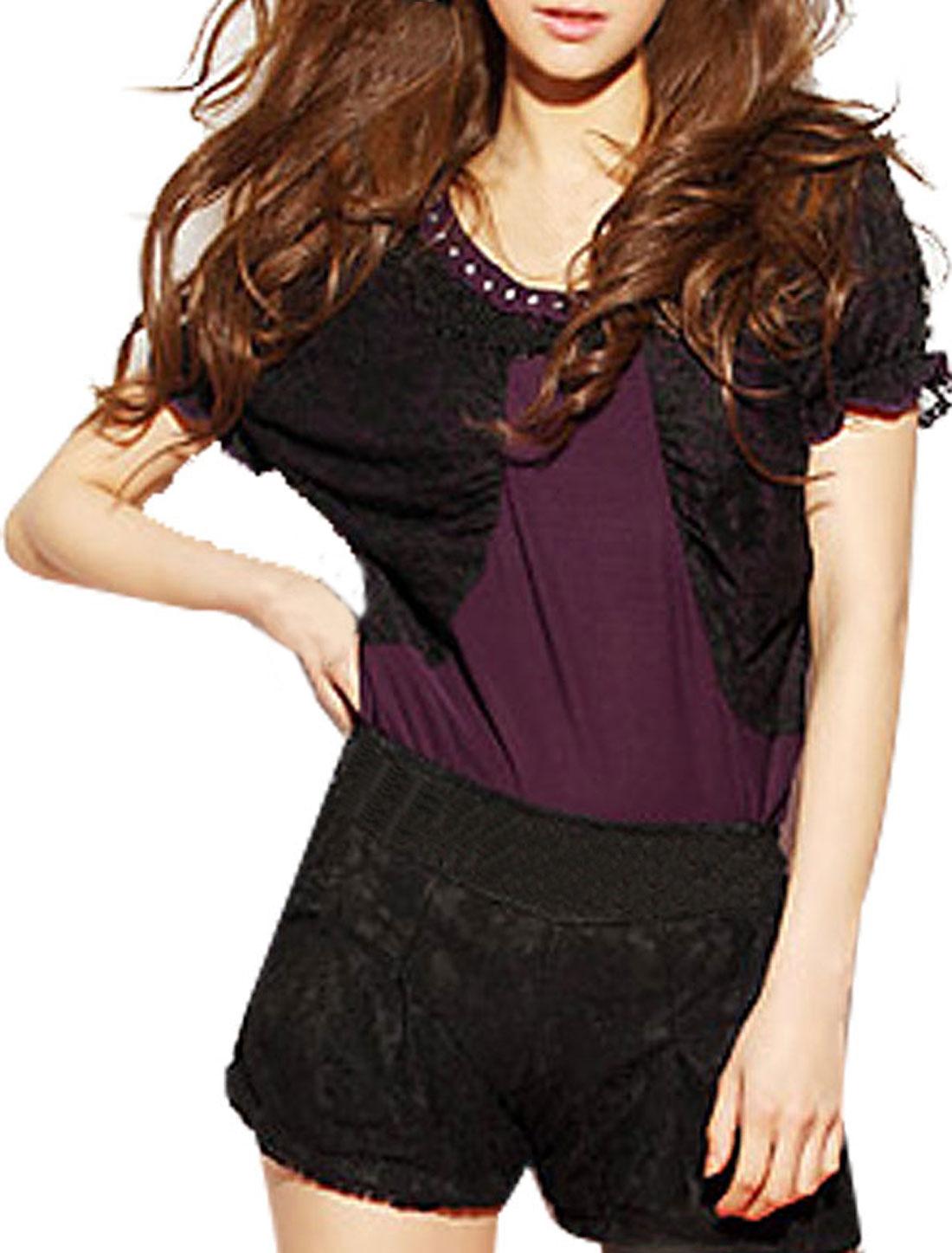 Lady Ruffled Hem Round Neck Bat Sleeves Dark Purple Shirt XS