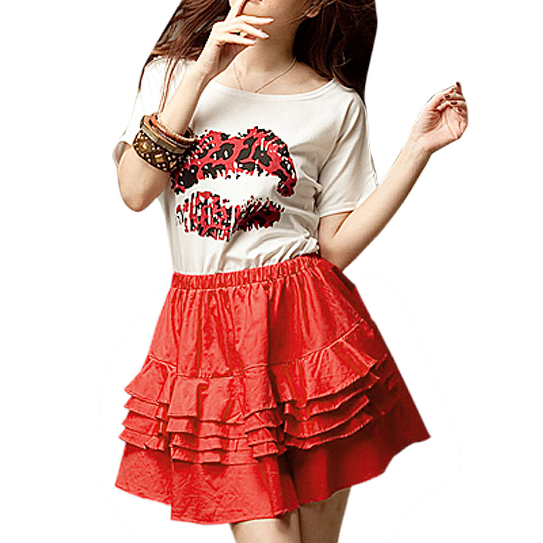 Bat Sleeves Lip Print Dress White Watermelon Red XS for Ladies