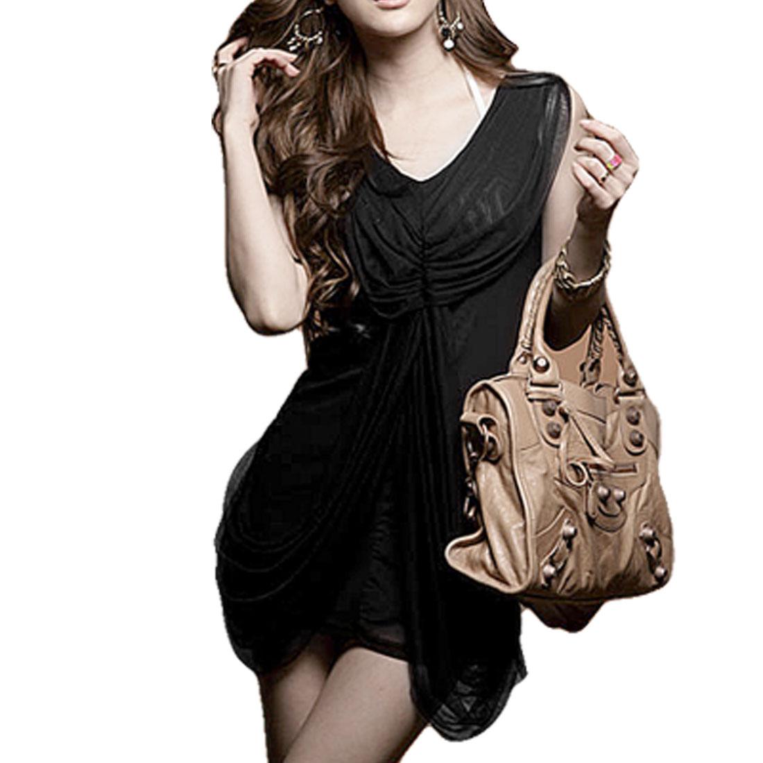 Lady Black Shirred Meshy Overlay V Neck Mini Dress XS