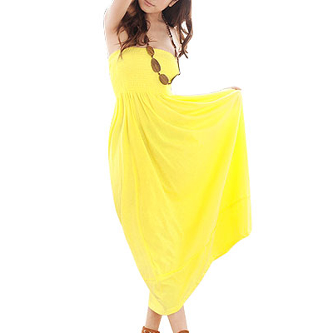 Yellow Shirred Accent Strapless Tube Long Dress XS for Lady
