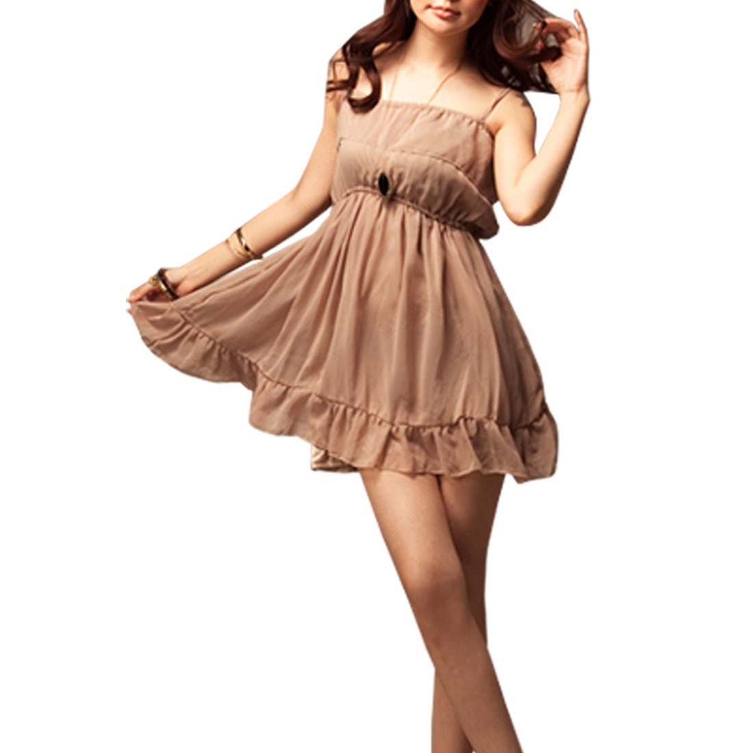 Dark Khaki Chiffon Pullover Lining Mini Dress XS for Lady