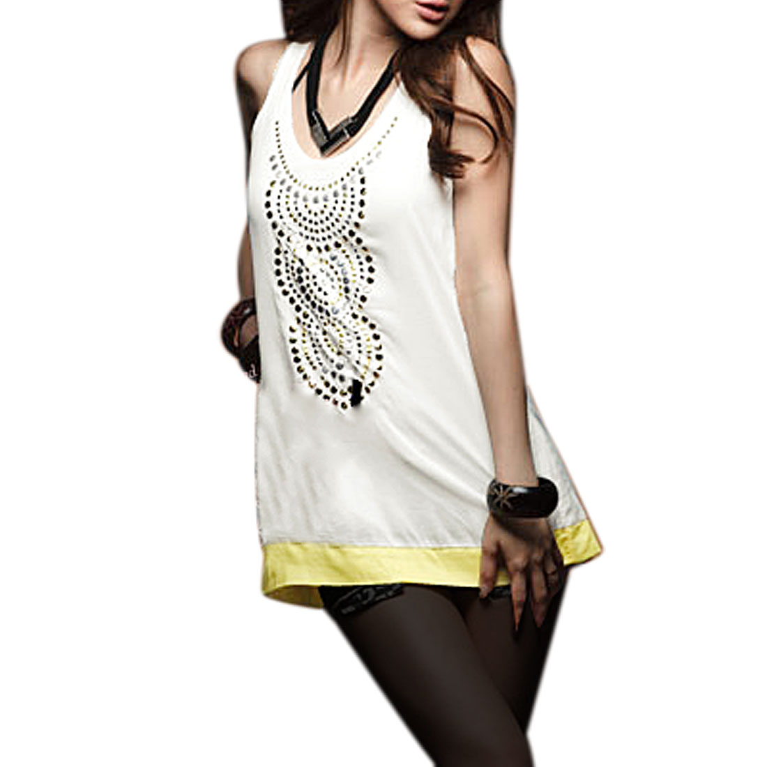 Ladies Scoop Neck Sleeveless Stud Decor White Yellow Tank Top XS