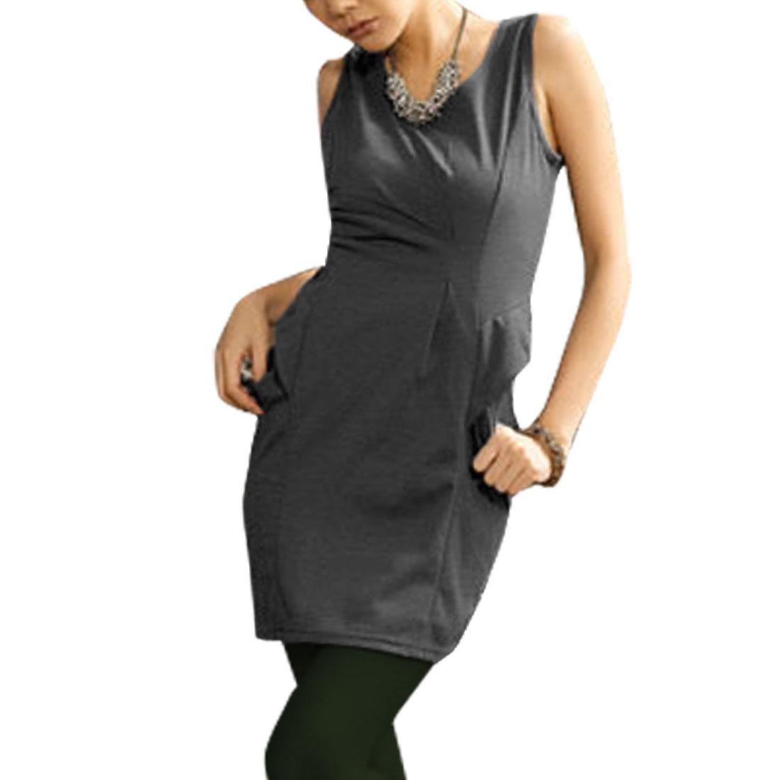 Ladies Dark Gray Scoop Neck Baggy Pocket Tunic Top XS