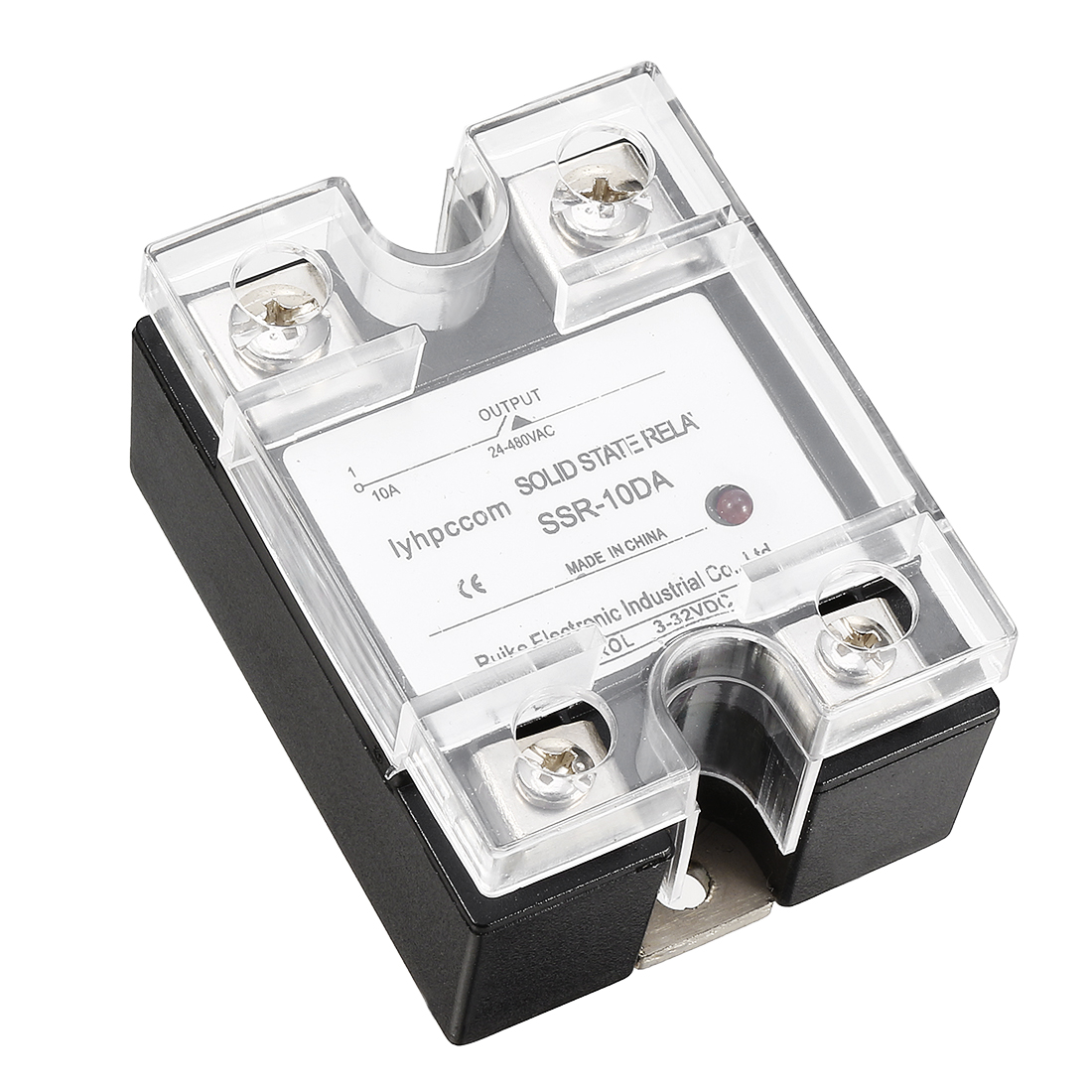 DC to AC DC 3-32V to AC 24-480V 10A Single Phase SSR Solid State Relay