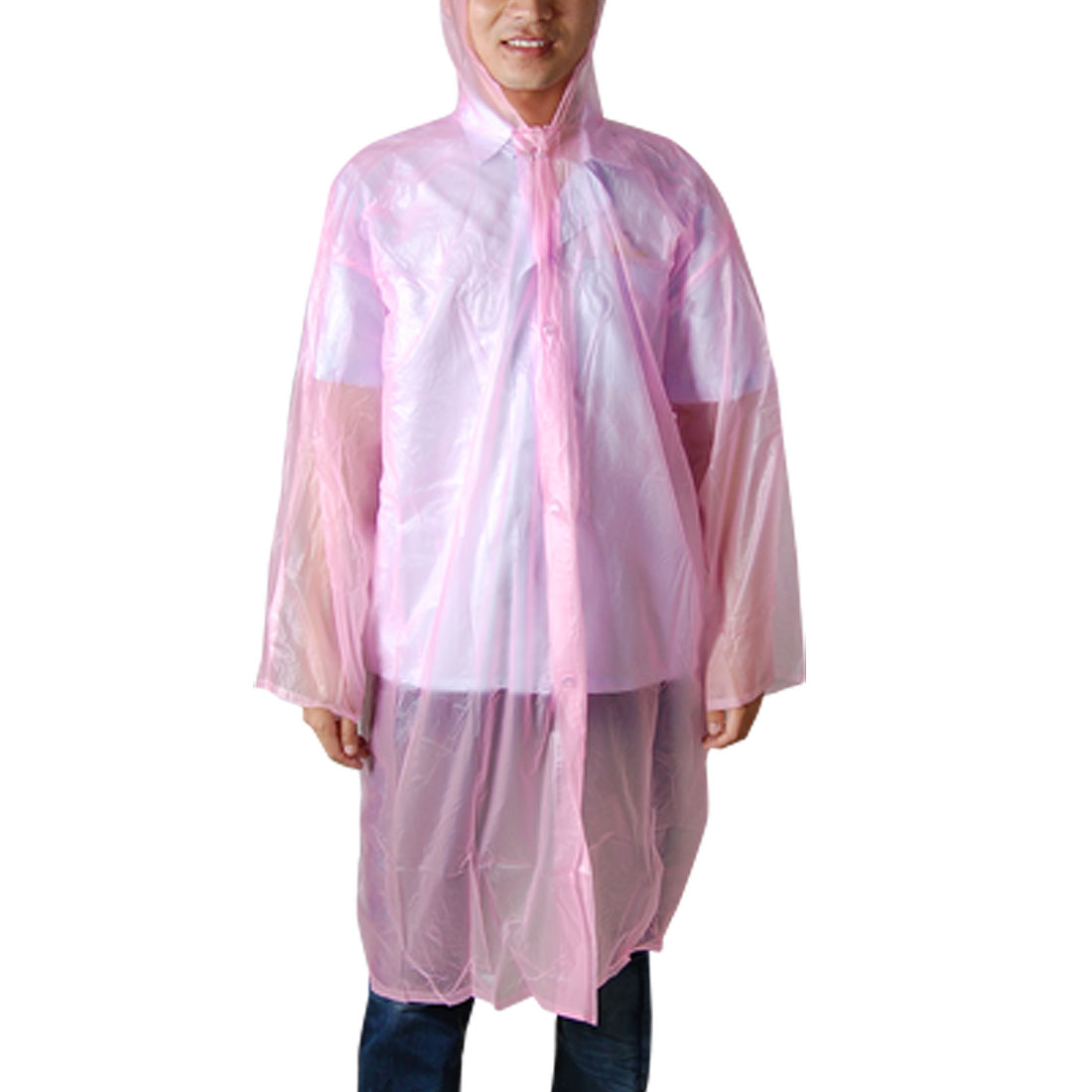 Long Sleeve Style Pink Plastic Hooded Raincoat Poncho 42.8""