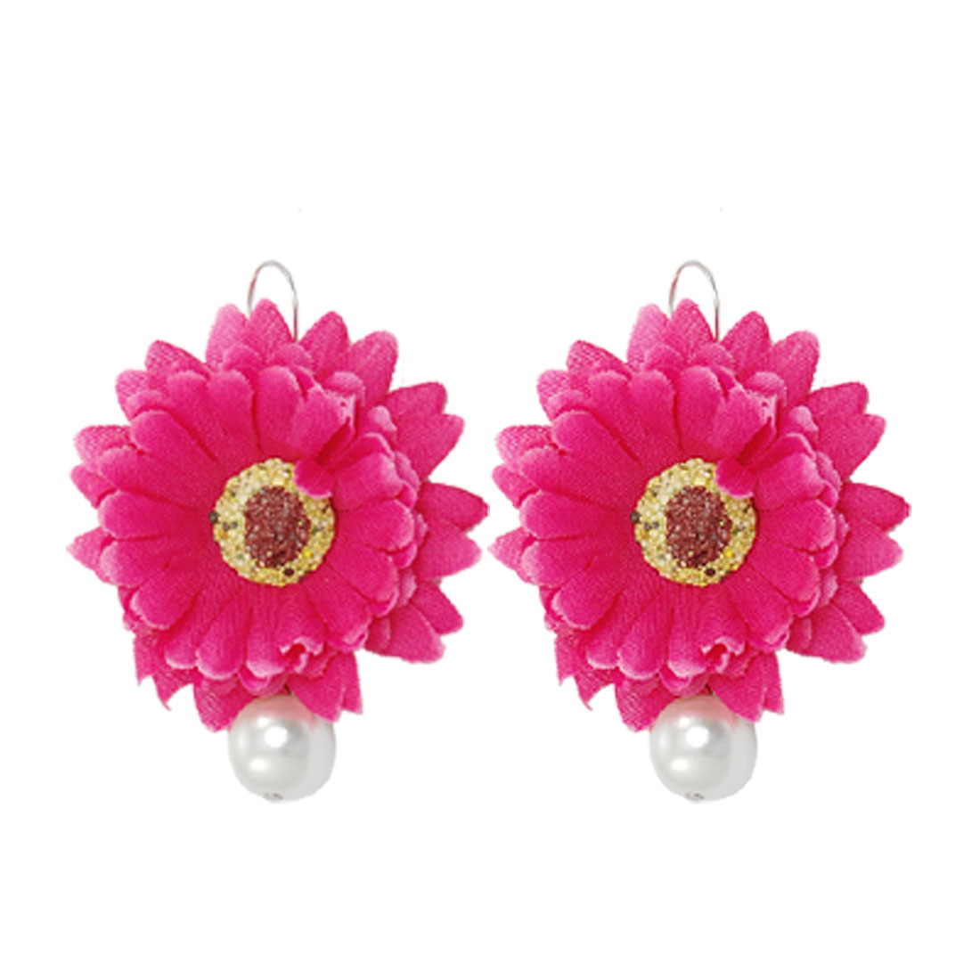 Pair Hot Pink Sunflower White Plastic Imitation Pearl Pendant Hook Earrings