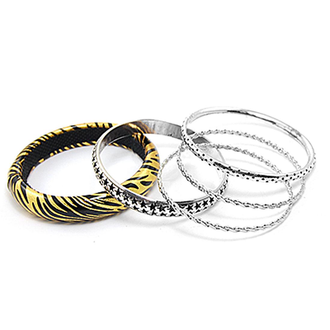 5 in 1 Zebra Pattern Metal Hoop Hollow out Star Bracelet for Lady