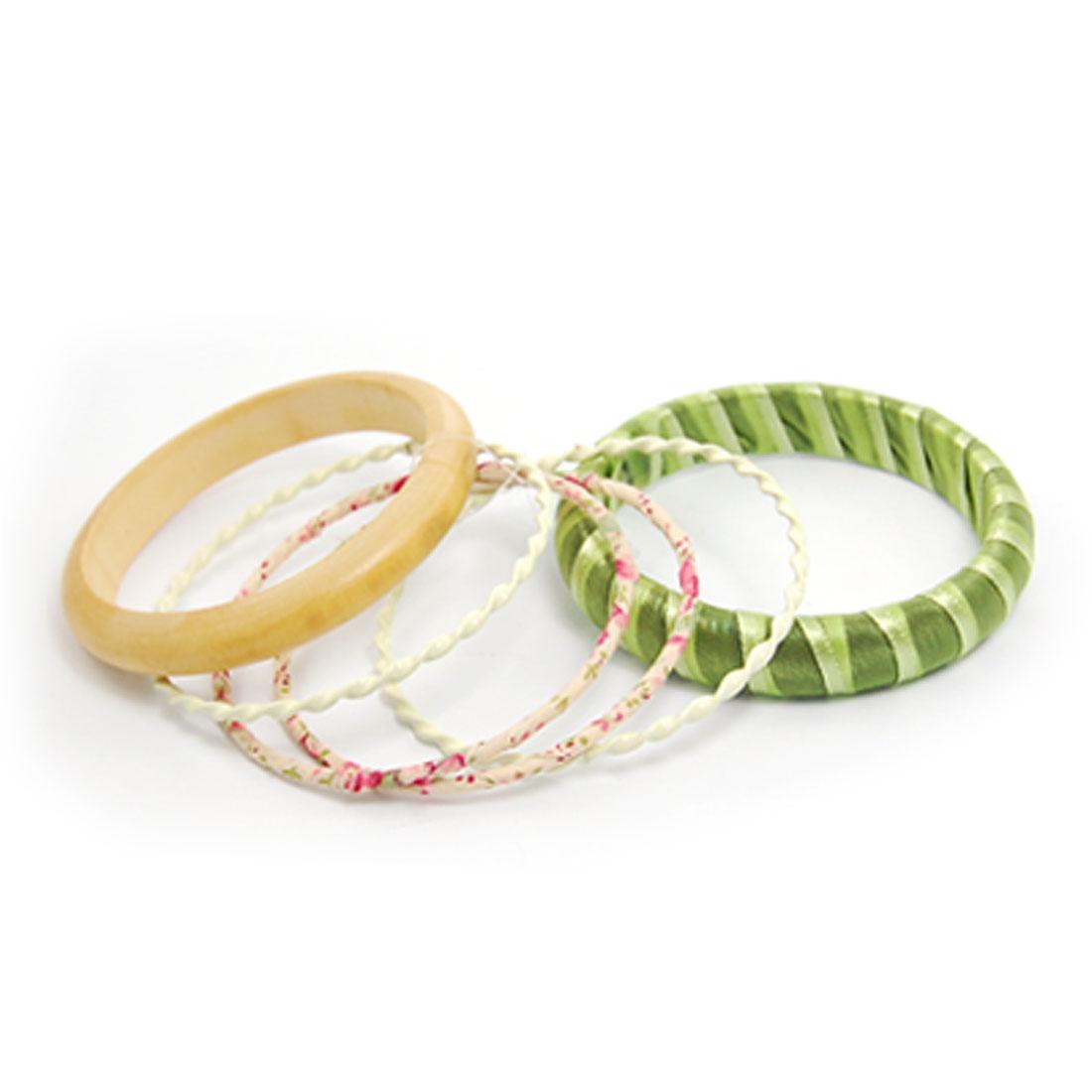 6 Pcs Green Stripe Detail Twist Metal Wooden Hoop Bracelet for Lady