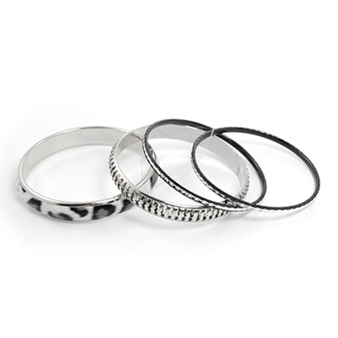 4 in 1 Leopard Pattern Metal Hoop Bracelet Set for Ladies