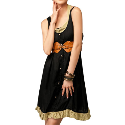 Ladies Shirred Back Square Neck Kahaki Black Tank Dress XS