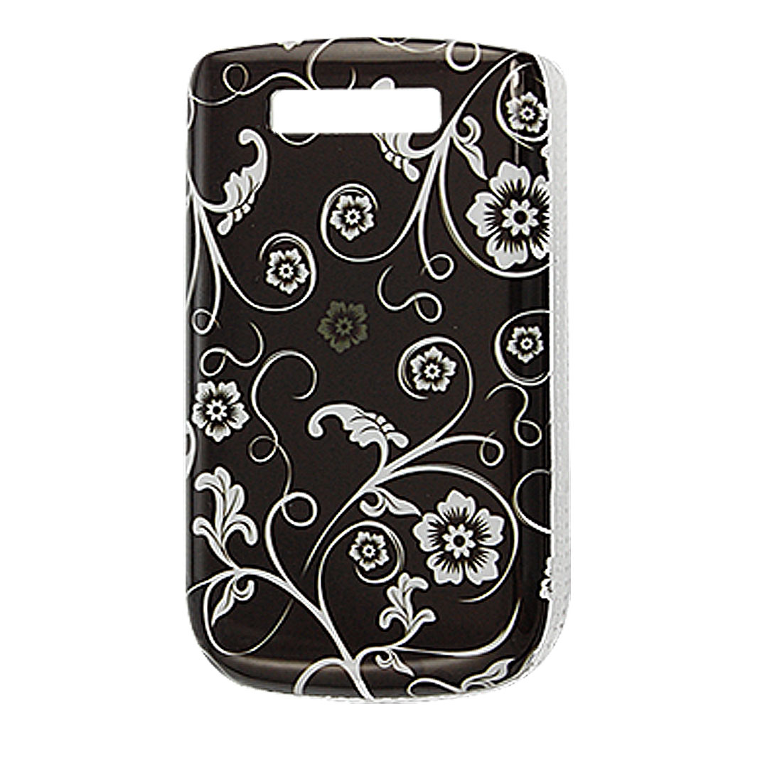 Black White Floral Print IMD Back Case Shell for Blackberry 9800