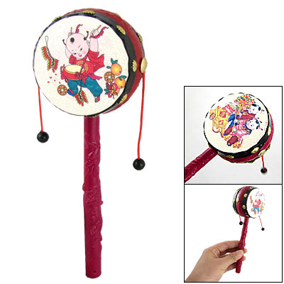 Toddlers Babies Hand Rattle Drum Chinese Traditional Toy