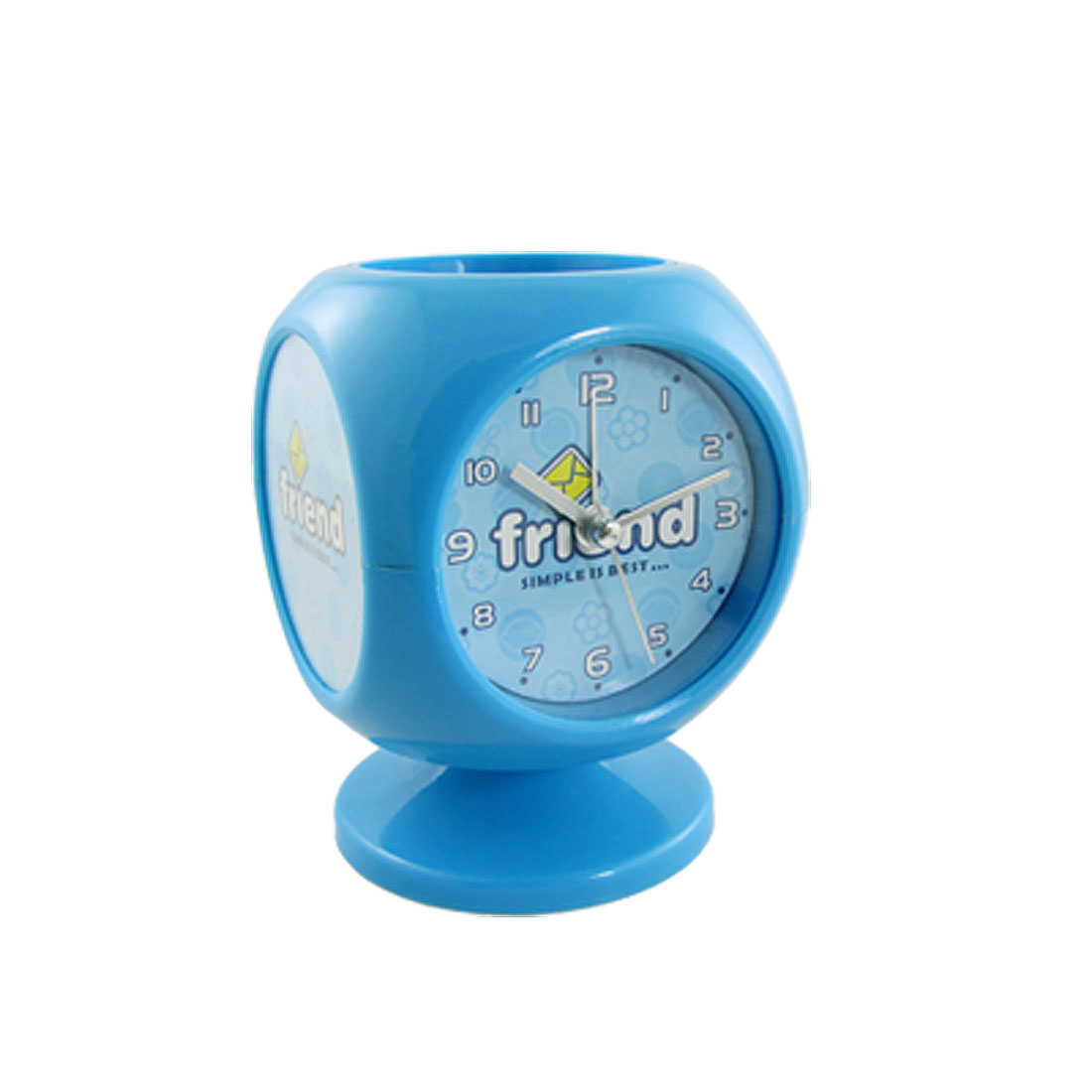 Round Dial Blue Pen Holder Design Tabletop Music Alarm Clock