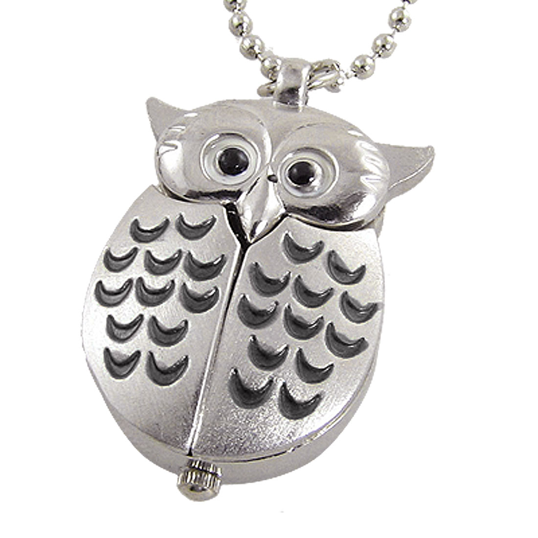 Lady Black Half Moon Pattern Night Owl Shape Pendant Necklace Watch